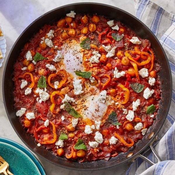 Harissa Chickpea Shakshuka with Za'atar Pita Wedges