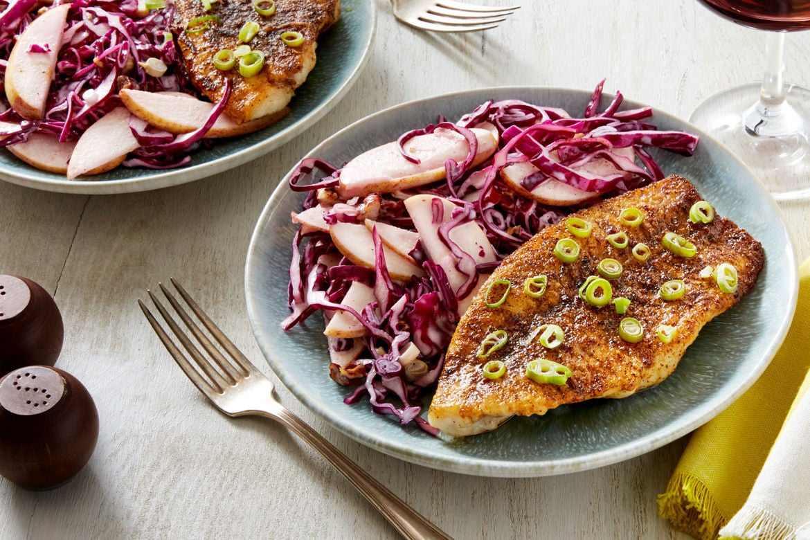 Nashville-Style Hot Catfish with Red Cabbage, Apple, & Pecan Slaw