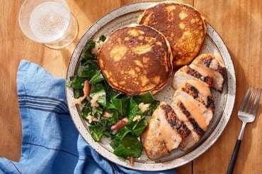 Southern Pork Chops & Crispy Corn Cakes with Braised Apple & Collard Greens