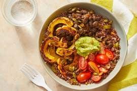 Black Bean & Quinoa Bowls with Guacamole & Roasted Delicata Squash