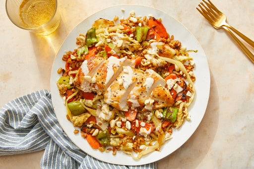 "Chicken & Farro ""Fried Rice"" with Peanuts & Ponzu Mayo"