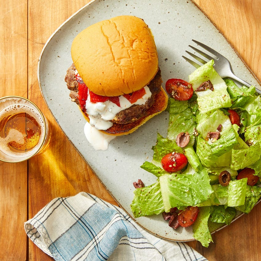 Greek-Style Burgers with Tomato, Olive  & Romaine Salad
