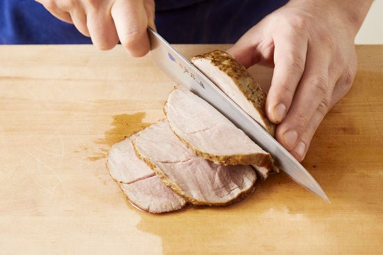 Slice the pork & plate your dish: