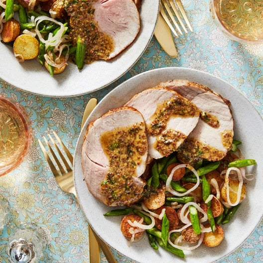 Roasted Pork & Mustard Pan Sauce with Asparagus & Fingerling Potatoes