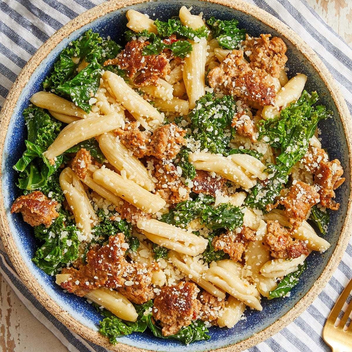 Cavatelli & Hot Italian Pork Sausage with Kale & Parmesan