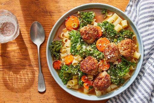 Pork Meatball Italian Wedding Soup with Ditali Pasta & Rosemary