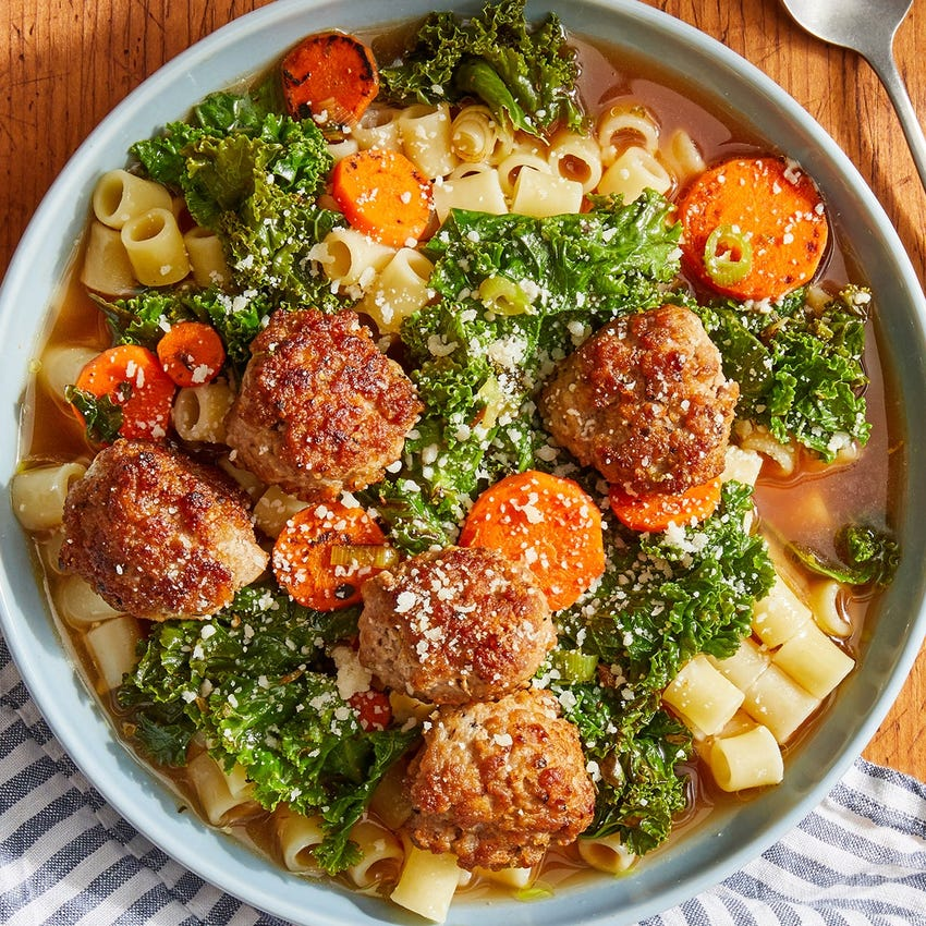 Pork Meatball Italian Wedding Soup with Ditali Pasta & Rosemary