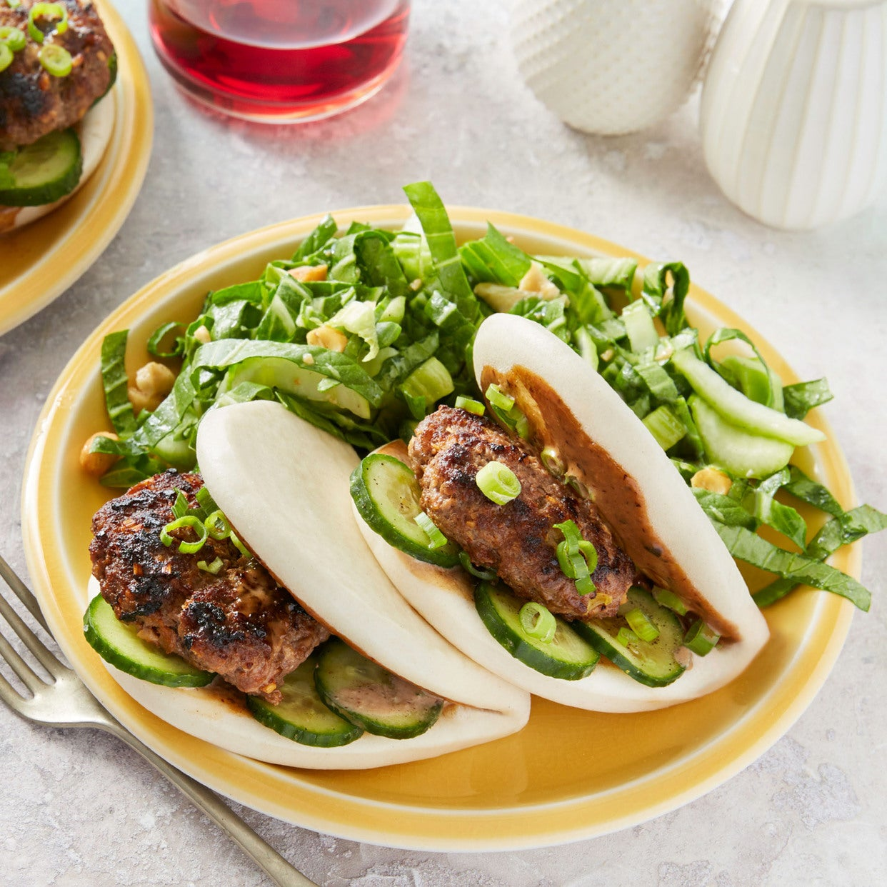 Korean Beef Bao with Black Bean Mayo & Bok Choy Salad