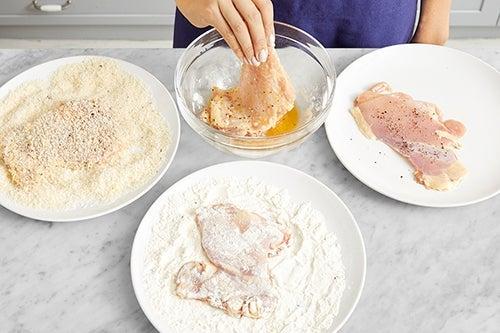 Pound & bread the chicken: