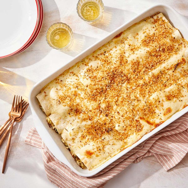 Cheesy Brussels Sprout  Cannelloni with Rosemary Breadcrumbs