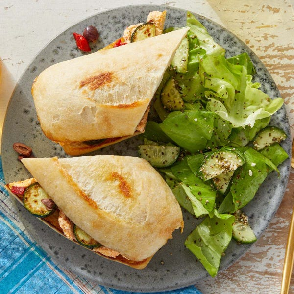 Zucchini & Ricotta Sandwiches with Butter Lettuce & Cucumber Salad