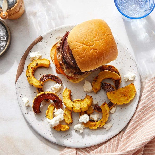 Pork & Date Burgers with Roasted Delicata Squash & Goat Cheese