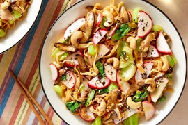 Stir-Fried Wonton Noodles with Bok Choy & Radishes