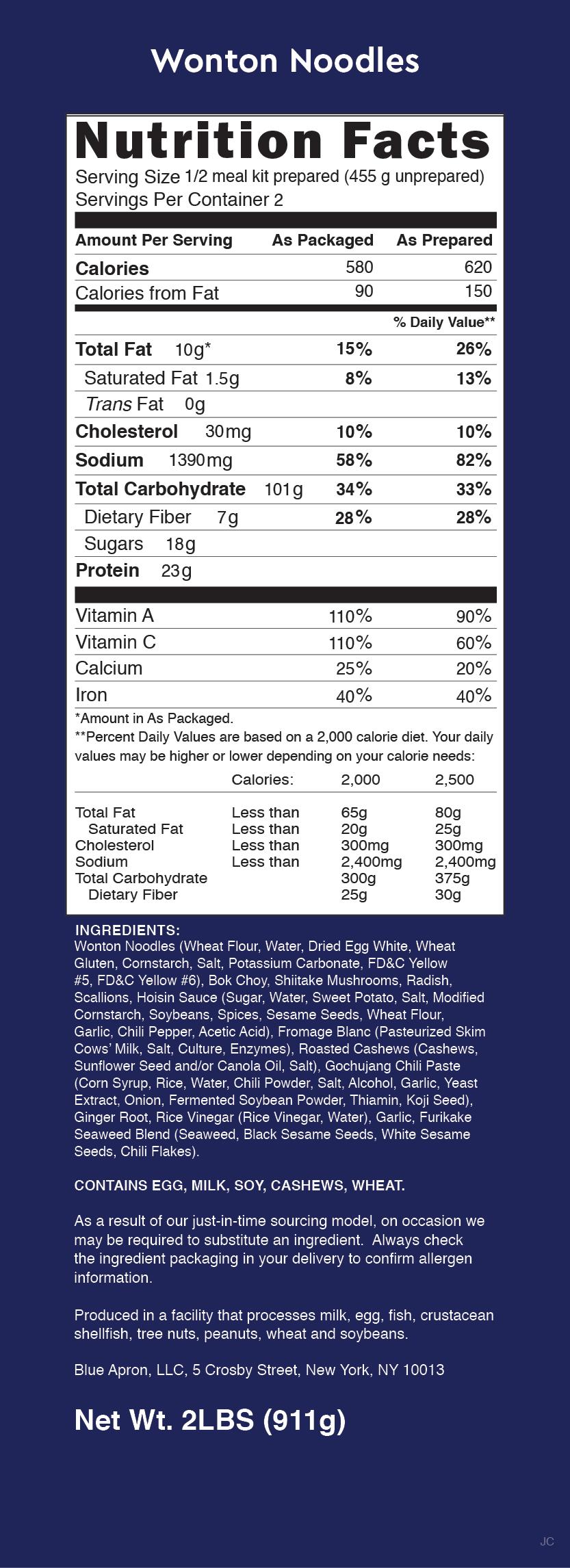 Blue apron hong kong - Blue Apron Wonton Noodles Nutrition Label