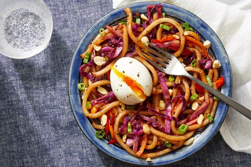 Sweet & Spicy Udon Stir-Fry with Cabbage, Peppers & Soft-Boiled Eggs