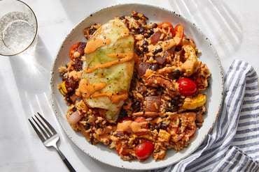 Cheesy Chicken & Guajillo Sour Cream with Smoky Rice & Beans