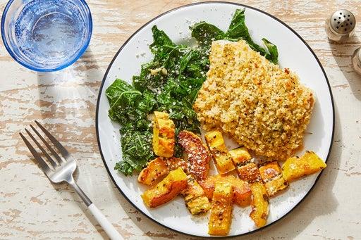 Parmesan & Panko-Crusted Cod with Roasted Squash & Garlic Kale