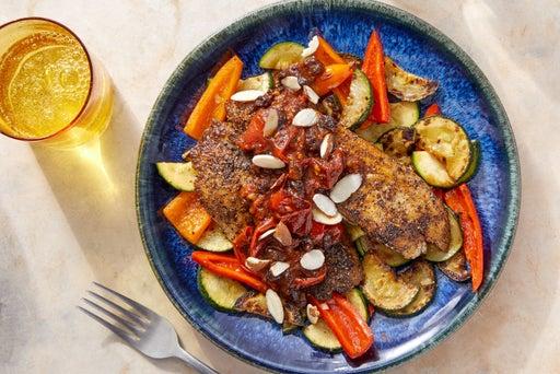 Za'atar-Spiced Tilapia with Sautéed Vegetables & Tomato Pan Sauce