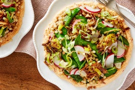 Fregola Sarda Pasta Salad with Sugar Snap Peas, Fried Leek, & Spicy Ricotta
