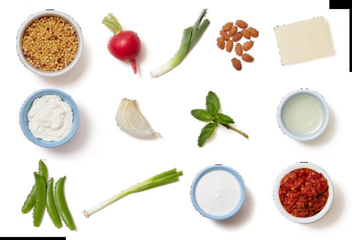 Fregola Sarda Pasta Salad with Sugar Snap Peas, Fried Leek, & Spicy Ricotta
