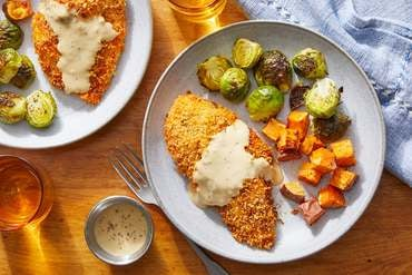 Panko-Crusted Chicken & Maple Dipping Sauce with Roasted Brussels Sprouts & Sweet Potatoes