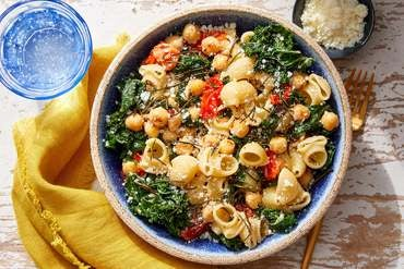 Chickpea & Kale Pasta with Fried Rosemary & Romano Cheese