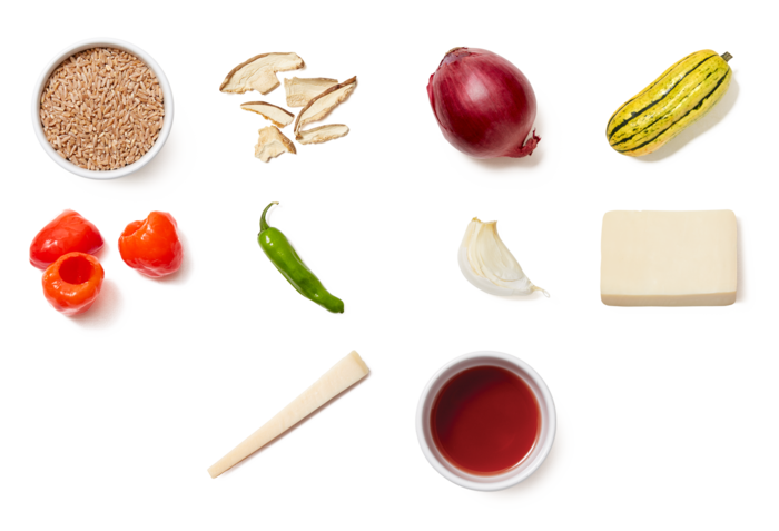 Stuffed Delicata Squash with Farro, Mushrooms & Shishito Peppers