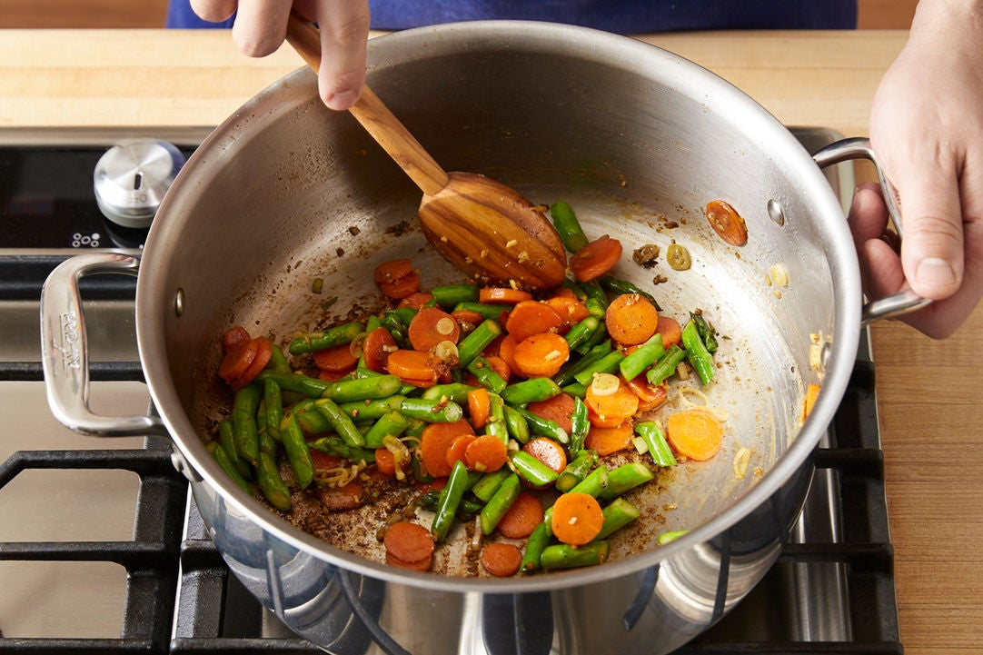 Add the asparagus & aromatics: