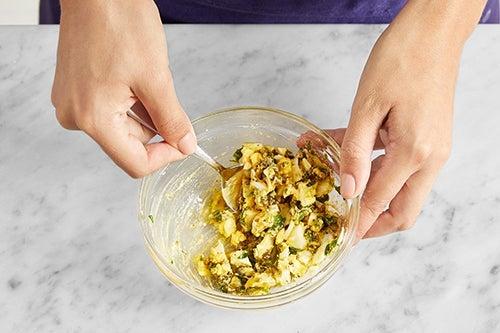 Make the sauce gribiche: