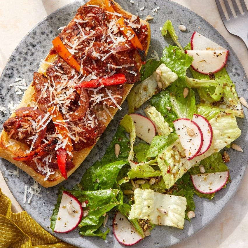 Cheesy Italian Beef Tartines with Romaine & Radish Salad