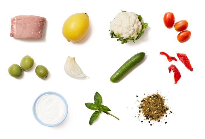 Dukkah-Spiced Pork with Roasted Cauliflower Salad