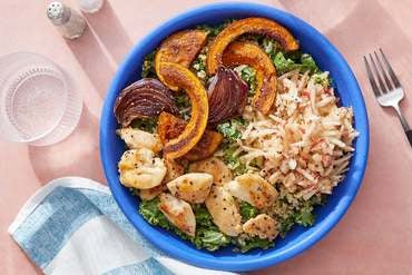 Spiced Chicken Grain Bowls with Marinated Apple, Kale & Roasted Squash