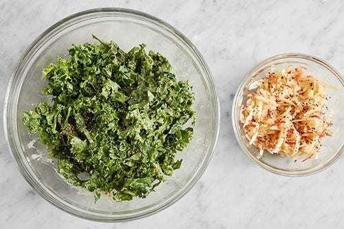 Marinate the apple & kale: