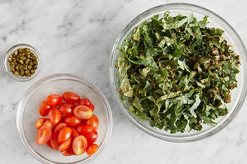 Prepare the remaining ingredients & marinate the kale: