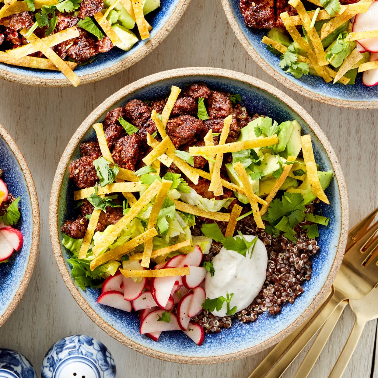 Mole-Spiced Beef & Red Quinoa Bowls with Avocado & Lime Crema