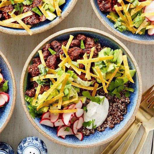 Mole-Spiced Beef & Red Quinoa Bowls with Avocado & Lime Crema