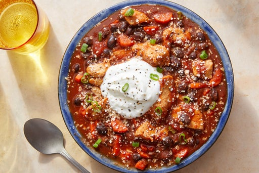 Chipotle Chicken Chili with Black Beans, Carrots & Cotija Cheese