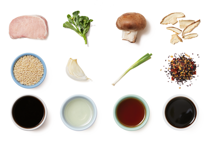 Seared Pork & Scallion Pan Sauce over Barley, Mushrooms & Gai Lan