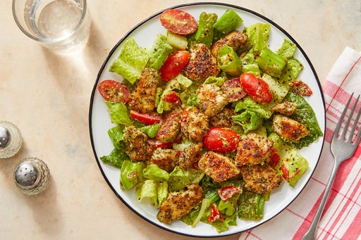 Italian Chicken Salad with Shishito Peppers & Creamy Pesto Dressing