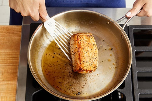 Sear the pork: