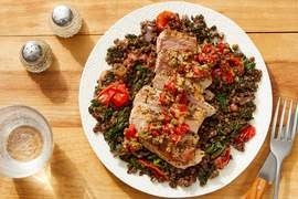 Italian-Style Pork & Lentils with Caper & Roasted Pepper Relish