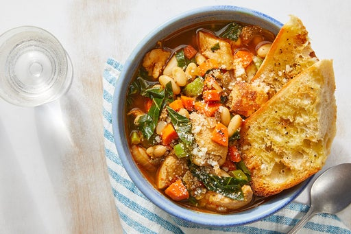 Chicken & White Bean Soup with Crispy Garlic Toast