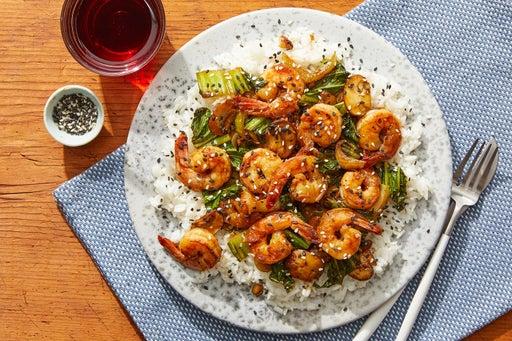 Cumin-Sichuan Shrimp with Mushrooms, Bok Choy & Jasmine Rice