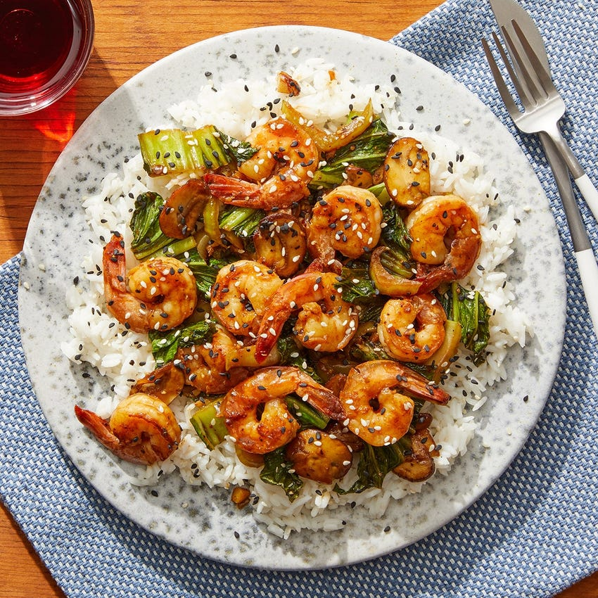 Cumin-Sichuan Shrimp with Mushrooms, Bok Choy & Jasmine Rice