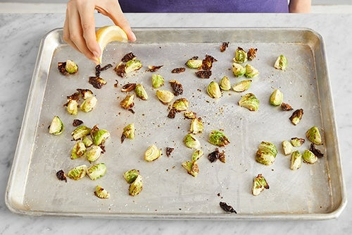 Roast the brussels sprouts & serve your dish: