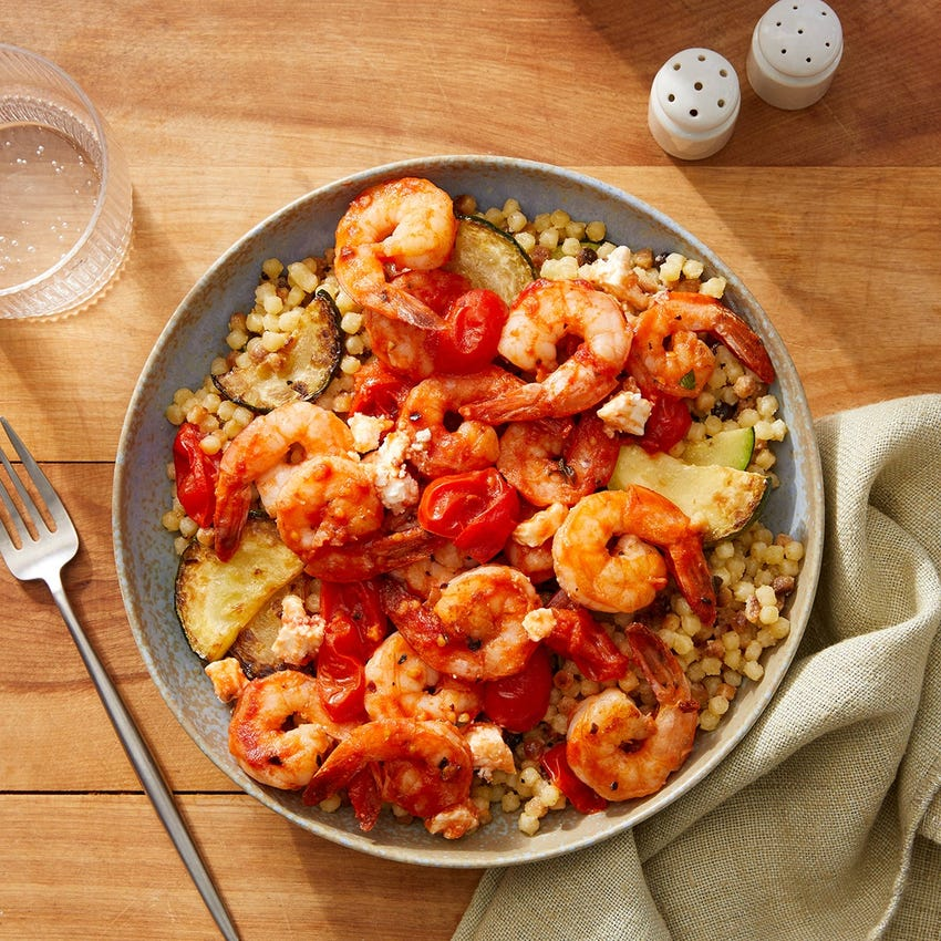Greek-Style Shrimp & Feta with Fregola Sarda Pasta