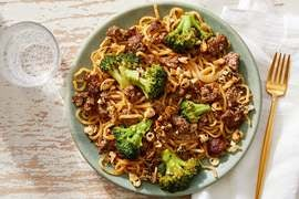 Beef & Broccoli Lo Mein with  Furikake Cashews