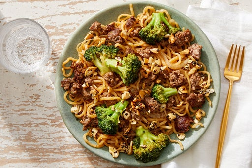 Beef & Broccoli Lo Mein with  Furikake Cashews