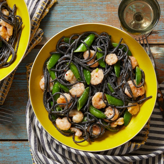 Shrimp & Squid Ink Spaghetti with Sugar Snap Peas