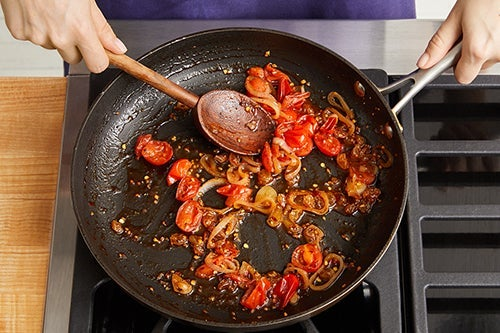 Make the tomato agrodolce & serve your dish: